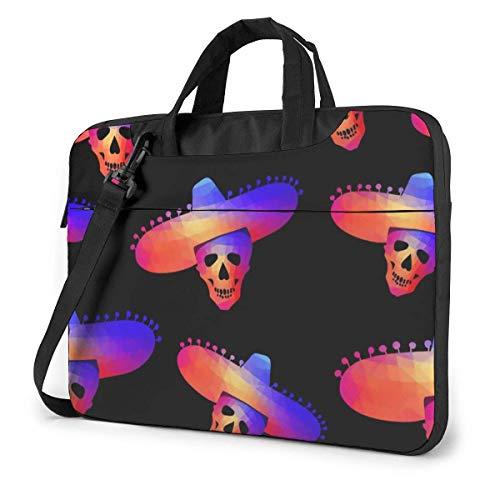 Bolsa de Mensajero para computadora portátil Skull in Sombrero Bolsa Protectora de Manga de maletín Impermeable con Correa