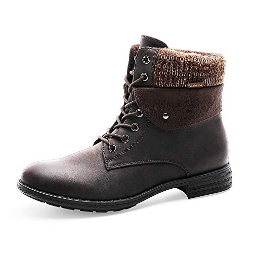 MecKiss Women's ankle boots, winter boots, girls' lace-up boots, snow boots, lined winter boots, slip-on boots, worker boots, work boots, snow boots, warm autumn. Brown Size: 5 UK