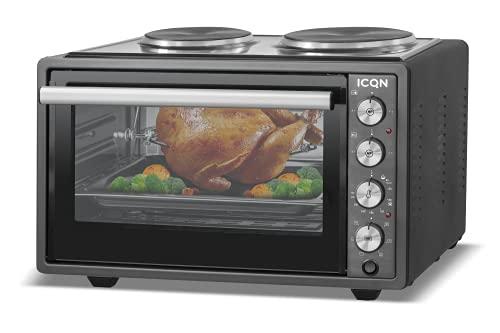 ICQN 42 Liter Minibackofen mit Kochplatten | 3800 W | Umluft | Pizza-Ofen | Doppelverglasung | Drehspieß | inkl. Backblech Set | Elektrischer Mini Ofen | 40°-230°C | Emailliert | Anthrazit