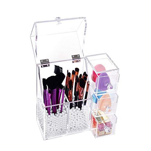 FXXX Organisateur de Maquillage, 3 tiroirs et Pinceau de Maquillage Acrylique Organisation Beauté Maquillage Countertop Boîte Idéal Rangement pour Toute Table de Salle de Bains ou Chambre