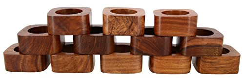Shalinindia Handcrafted Table Dinner Decorations Wooden Napkin Rings Set of 12 for Party Decor