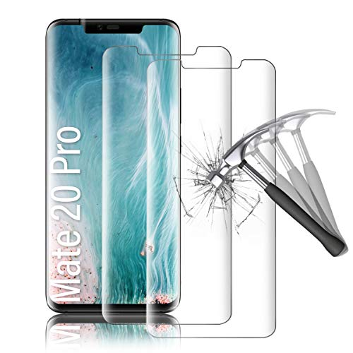 Shalwinn 2 Stück Panzerglasfolie für Huawei Mate 20 Pro, Kristallklar Displayschutzfolie mit 3D Vollständige Abdeckung, Hüllenfreundlich, Blasenfrei, Ultra-HD Panzerglas folie Schutzfolie