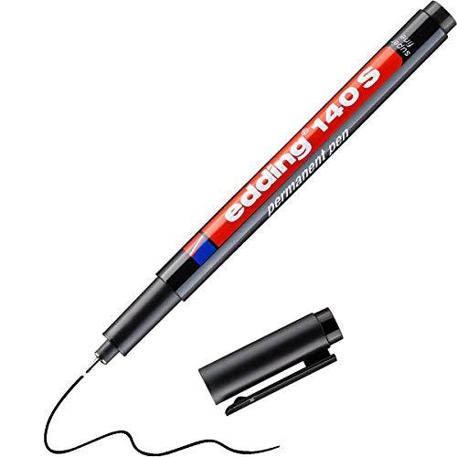 edding 140 S Permanenter Folienschreiber - schwarz - 1 Stift - Rundspitze 0,3 mm - Stift zum Schreiben auf Glas, Kunststoff, Folien und glatten Oberflächen - schnelltrocknend, wisch- und wasserfest