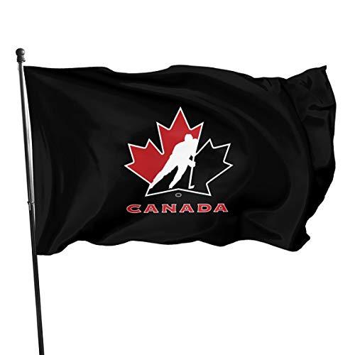 FTflag Outdoorflagge 3 m x 1,5 m Kanada National Ice Hockey Team Logo Deko Flagge für Hinterhof, Zuhause, Party, Polyester, Schwarz, Einheitsgröße