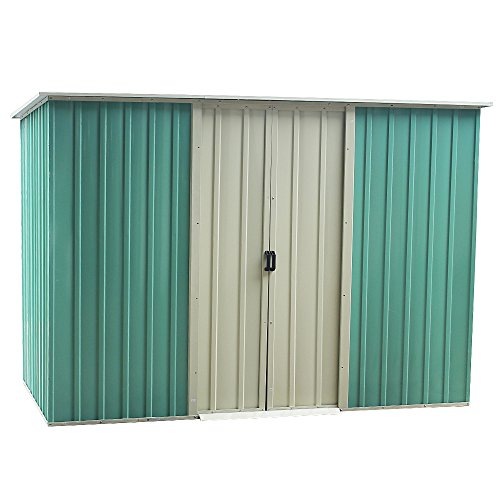 Panana Pent Roofed Metal Garden Shed with Double Sliding Doors, Zinc Frame Large House Hut Gardening Tool Bike Storage Foundation and Ventilation, SIZE:175m×128cm×171cm