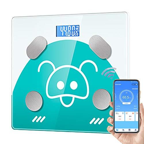 CFFDDE Digitale personenweegschaal, lcd-display met achtergrondverlichting, gehard glas, smart-weegschaal voor analyse van de lichaamssamenstelling, met smartphone-app groen
