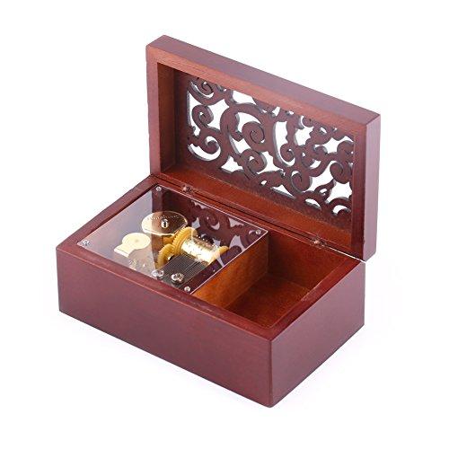 Holz Spieluhr Miniatur Hohl 18 Musiknote Wind Up Spieluhr und bilden Fall und Schmuckschatulle Handwerk Geschenk Dekoration(Gold/For Elise)