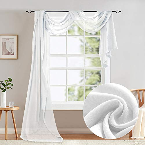 jinchan White Scarf Sheer Curtains 216 Inches Elegant Topper Long Window Treatment Scarves for Living Room Add to Window Curtains for Enhanced Effect 1 Panel