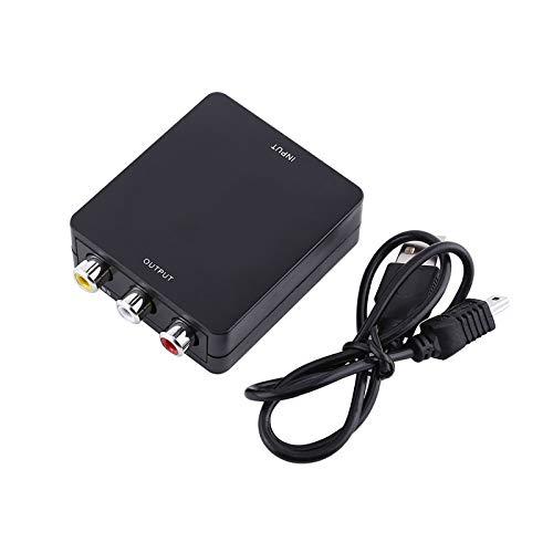 Convertidor Mini HDMI a RCA, HDMI Digital a AV, Adaptador de Audio y Video 1080P, Soporte NTSC y PAL con Cable USB para cámara HD, HD DVD, Displayer, Auricular(Negro)