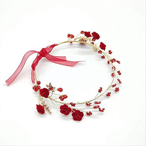 HAKJ<YT Grote rode vintage bruid haar getrimd roos haarband bruid diadeem toast accessoires