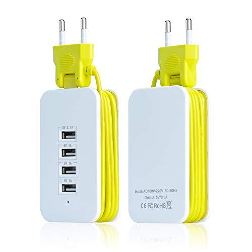 LARAH Mini Regleta Enchufes de 4 Rápida USB Tomas, Toma de Corriente con Protección contra Sobrecargas para Viajes,Oficina y Hogar, Cable de 1,5M, 5V/1A y 5V/3.1A