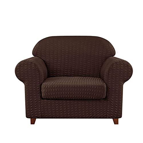 DFJU Stretch Sofabezug 2 Stück,Möbelschutz für 3-Kissen Couch rutschfest Strapazierfähiger Couchbezug Waschbar Weicher Jacquard Stoff Sofabezug für Wohnzimmer Haustiere Kinder-2 Sitzer-Braun