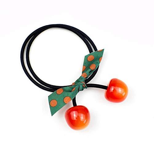 5 stuks kleurrijke haarbanden van kersenhout, elastisch, voor meisjes, met strik, rood, haaraccessoires met paardenstaart
