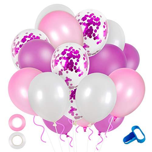 Globos Rosado y Blancos, Comius Sharp 60 Piezas Globos de Confeti Globos de Látex Rosado Blanco para Aniversario Bodas Decoraciones de Fiesta de Cumpleaños