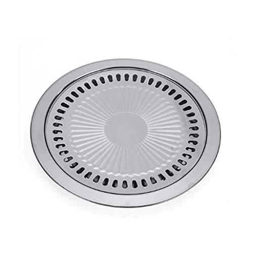 KRLZA sklzj Round Barbecue Plate Barbecue Grill Iron Plate Household Outdoor Picnic Barbecue Grill Barbecue Pot Barbecue Tool