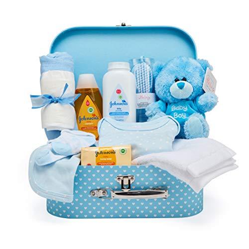 Baby Box Shop - Cesta regalo bebé niño para baby shower con todo lo esencial para bebes recién nacidos con osito de peluche y caja de recuerdos azul