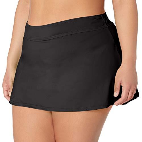 Anne Cole Women's Plus-Size Solid Rock Skirted Bikini Swim Bottom, Black, 24W