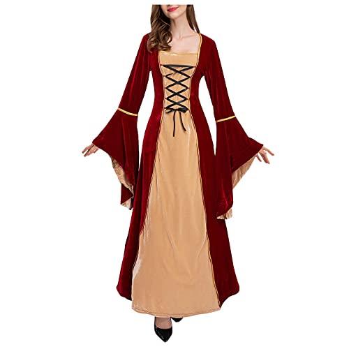 SEEGOU Retro Samt Partykleid Damen Magie Hexe Kleid Böse Königin Party Kostüm Cosplay Schlank Langes Kleid 1950er Langarm Cocktail Kleid...