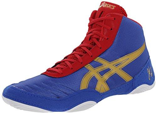 ASICS Men's JB Elite V2.0 Wrestling Shoe, Jet Blue/Olympic Gold/Red, 10 M US