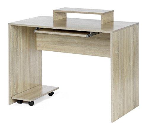 ts-ideen Bureau design Table console Table de travail Bureau informatique finition bois de chêne avec tiroir à clavier et étagère de moniteur