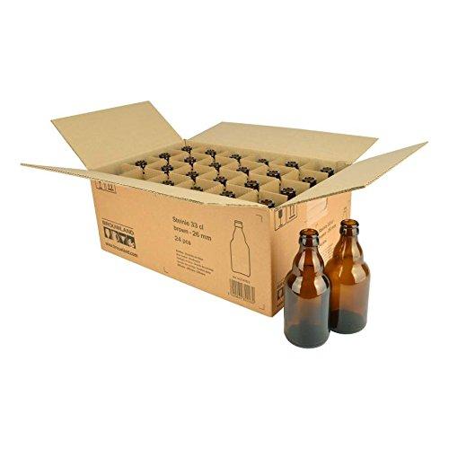 Botella de cerveza steinie 33cl, en caja de cartón 24ST.–Reutilizables marrón mehrwegflasche de cristal botella de cerveza para 26mm corona corcho–0,33l