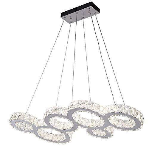 WEM Lámpara colgante Led Oscurecimiento Control remoto Lámpara de comedor Lámpara colgante redonda moderna Lámpara colgante de cristal Lámpara colgante de 6 anillos Lámpara de salón Lámpara de techo