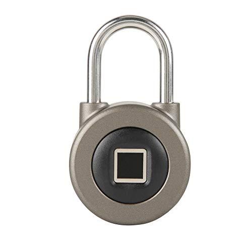 USB sin llave IP65 a prueba de agua con dos modos de desbloqueo Candado inteligente Candado con huella dactilar, para puertas de oficina, guardarropas, maletas, bicicletas(Dark gray)