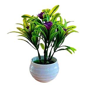 Academyus Artificial Plant Pot Hibiscus Flower Hotel Garden Decoration Plastic Plastic Colorful Imitation Fower Pots for Home Purplish Red