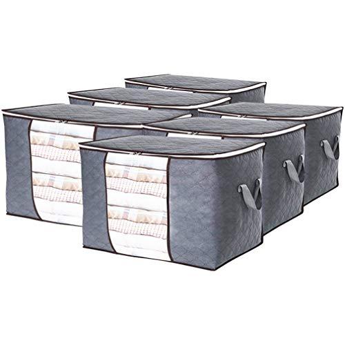 RLAVBL Cajas Organizadoras de Tela para Guardar Ropa, 60x40x35, 84L, Pack de 6, Cubos Almacenaje con Tapa y Ventana Transparente para Armario, Gris