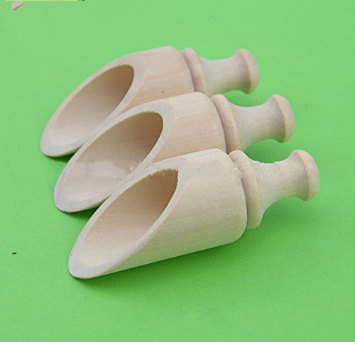 10 Piece Dress My Cupcake Rustic Round Wood Scoop, 3.5-Inch