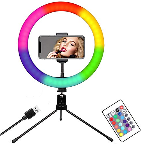 """Ring Light with Remote Control - 10"""" Selfie Ring Light with Tripod Stand, 16 RGB Colors Dimmable LED Lamp Camera Bluetooth Ring Light for Live Stream/YouTube/TikTok/Photography"""