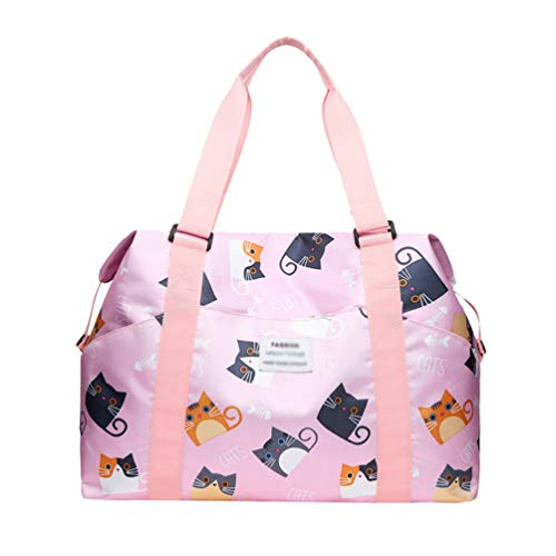 Yiqi Foldable Travel Duffel Bag Luggage Sports Gym Water Resistant, Hand Cabin Luggage Carry-On Travel Bag Shoulder Bag Messenger Bag Medium Holiday Duffle Lightweight Bag (Style#3, 43 * 14 * 30cm)