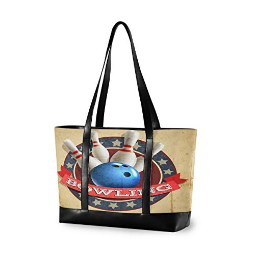 LZXO Laptop-Tasche, (15,6 Zoll), Sport, Bowling-Ball, Muster, große Schultertasche, Reißverschluss, leicht,Handtaschen