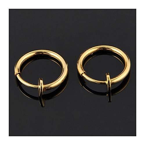 FKJSP 2 pendientes invisibles sin agujero para la oreja, anillo para ombligo, anillo para ombligo, para aretes punk de viento (color metálico: oro)
