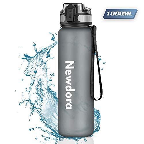 Newdora Trinkflasche, BPA-Frei Auslaufsichere Wasserflasche mit Filter, Tragbare Outdoor-Sportflasche mit Trageschlaufe Getränkeflasche für Kinder, Sport, Fahrrad, 1000ml