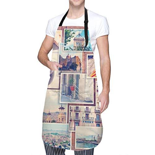 N\A Delantal Collage Barcelona Hombre Mujer Delantal Artesanal Ajustable Babero Delantal de Carnicero con Bolsillos
