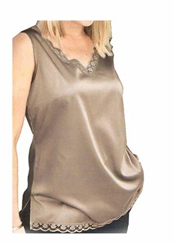AdoniaMode Damen Top Satin feminin elegant mit edler Spitze V-Ausschnitt große Größen Übergröße Beige Gr.46