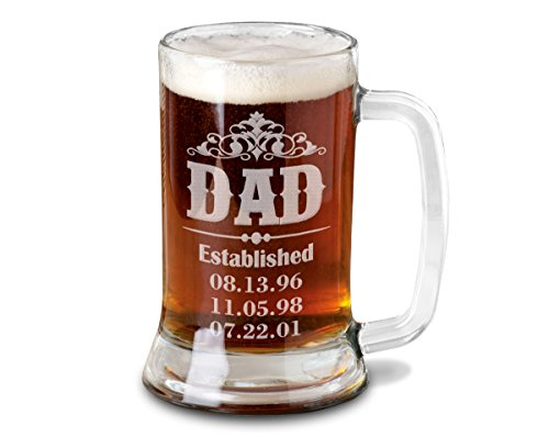 Dad Beer Mug Personalized from Son Daughter with Birth Dates for Fathers Day Daddy Beer Stein Engraved Husband 1st Father