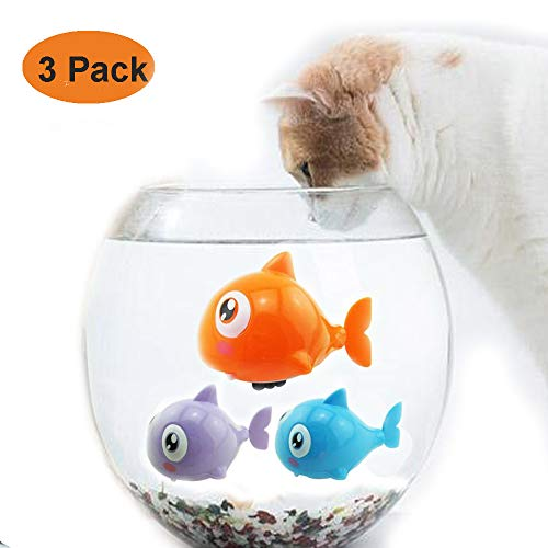 GingerUP Katzenspielzeug Wasserspielzeug katze zum Aufziehen mit Kette, süße kleine Katze, interaktives Spielzeug, zufällige Farbe, 3 Stück