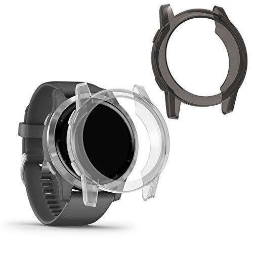 kwmobile Case Protettiva per Fitness Tracker Compatibile con Garmin Vivoactive 4 (45 mm) - Semitrasparente Protezione Sportiva Cardio Orologio Smart