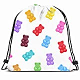 Drawstring Backpack String Bag 14x16 Green Pattern Bear Colorful Gummy Bears Candies Food Drink Orange Candy Glossy Pink Jelly Fruit Snack White Sport Gym Sackpack Hiking Yoga Travel Beach