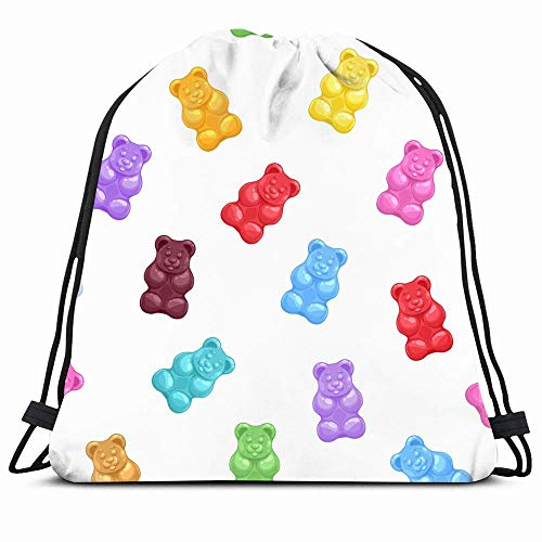 Drawstring Backpack String Bag 14x16 Green Pattern Bear...