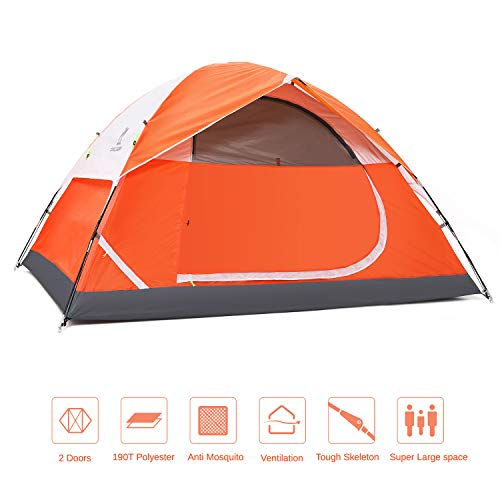 CAMEL CROWN Dome 2-4 Person Camping Tent – Spacious, Lightweight, Heavy Duty – Weather and Flame Resistant Outdoor Hiking Universal Improved Tent