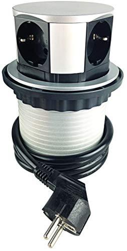 ChiliTec verzonken stopcontact voor bureau en werkblad 230 V met aansluitkabel (verzonken, 4 x stopcontact)