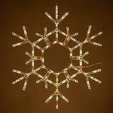 Wintergreen Lighting 36' LED Warm White Folding Snowflake Decoration LED Snowflake Lights Large Snowflake Decorations Outdoor Lighted Snowflake