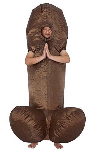 Aufblasbares Kostüm Outfit Oktoberfest Halloween Kostüme Blow Up Party Cosplay für Erwachsene Braun Einheitsgröße