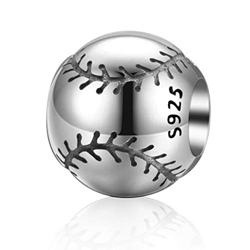 Abalorio de plata de ley 925 con diseño de balón de fútbol americano para pulsera europea