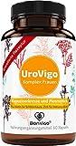 UroVigo Frauen Kapseln - Blase, Harnwege: Vitamin A unterstützt Schleimhäute*, Zink das Immunsystem** - Plus 8-Pflanzen Komplex mit Kapuzinerkresse, Meerrettich, Cranberry, Löwenzahn, Minze, Kürbis