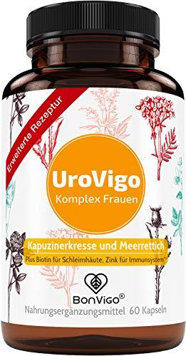 UroVigo Frauen - Blase, Harnwege: Vitamin A unterstützt die Schleimhaut*. Zink für das Immunsystem** - Plus 8-Pflanzen Komplex mit Kapuzinerkresse, Meerrettich, Cranberry, Löwenzahn, Minze, Kürbis