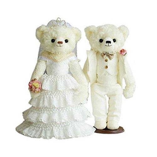 Lovely Mariage Ours mignon nounours Cadeau de mariage (Blanc en dentelle Voile/blanc Costume)